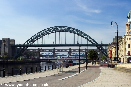 Tyne Bridge seen from Newcastle Quayside.