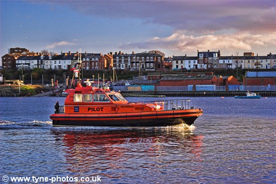 Tyne Pilot Boat Collingwood passing North Shields Fish Quay.