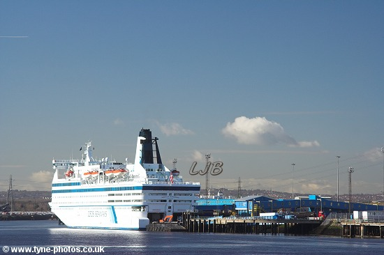 Car and Passenger Ferry, Queen of Scandinavia, berthed at North Shields.