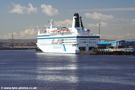 Car and Passenger Ferry - Queen of Scandinavia berthed at North Shields.