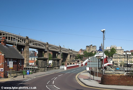 View from the Gateshead side of the Swing Bridge.