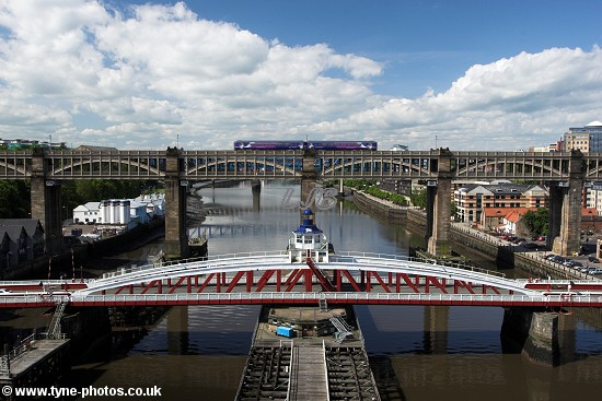 The High Level Bridge seen from the centre of the Tyne Bridge.