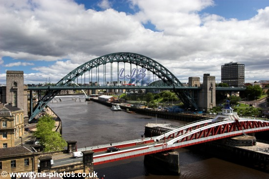 Tyne Bridge and Swing Bridge seen from the High Level Bridge.