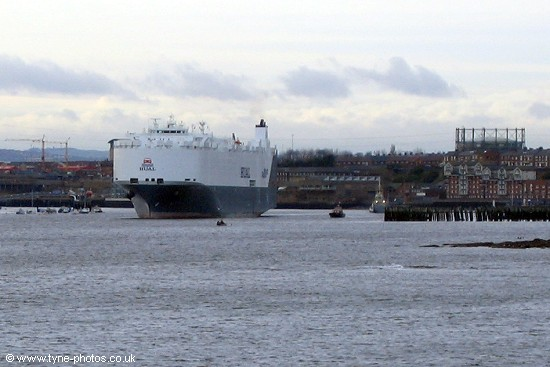 The Hual Paris seen passing the Fish Quay at North Shields.